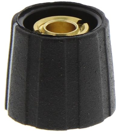 Sifam Potentiometer Knob, Collet Type, 15.5mm Knob Diameter, Black, 6.35mm Shaft (10)
