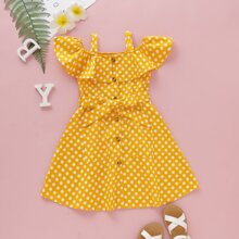 Toddler Girls Polka Dot Open Shoulder Belted A-line Dress