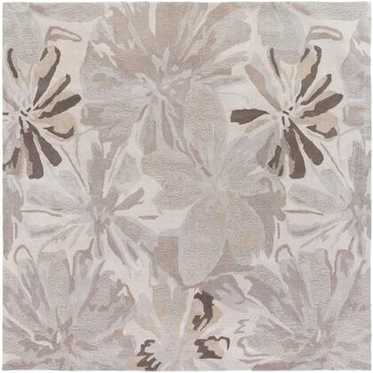 Athena Collection ATH5135-99SQ Square 99 Area Rug with Hand Tufting and Wool Material in Neutral and Grey