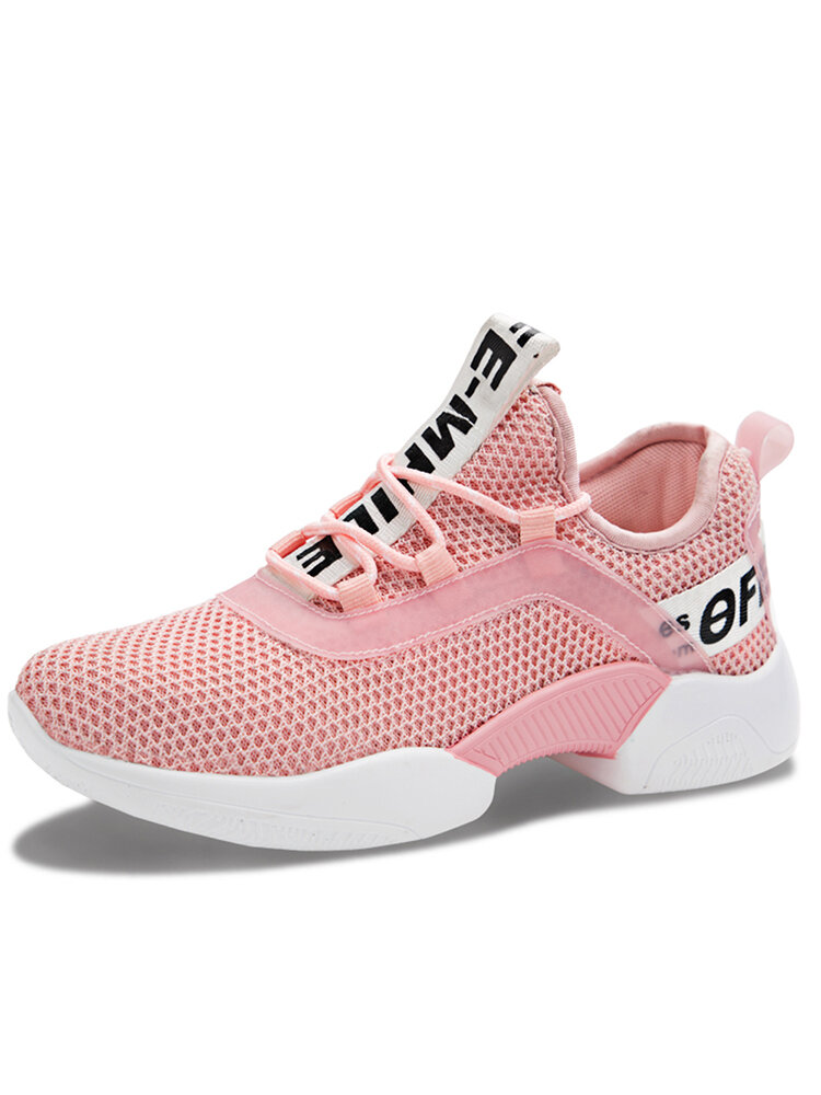 Women's Letter Pattern Breathable Mesh Comforty Walking Lace-up Flat Sneakers