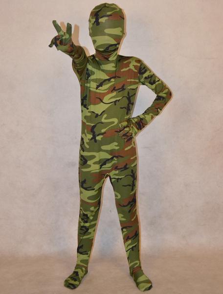 Milanoo Disfraz Halloween Zentai de camuflaje militar de elastano de marca LYCRA para niños  Halloween