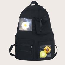 Rucksack mit Blumen Dekor und Taschen vorn