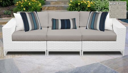 Miami Collection MIAMI-03c-ASH 3-Piece Patio Sofa with Left Arm Chair  Armless Chair and Right Arm Chair - Sail White and Ash
