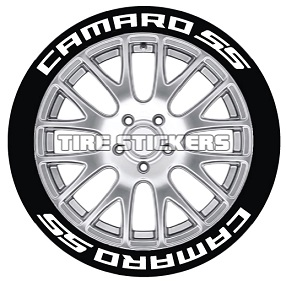 Tire Stickers CAMROSS-1921-75-8-G Permanent Raised Rubber Lettering 'Camaro SS' Logo - 8 of each -   19