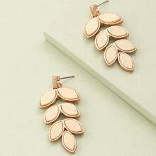1pair Leaf Detail Dangling Earrings