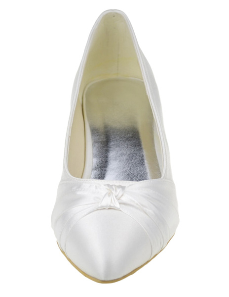 Milanoo Beautiful Ivory Bow Pointed Toe Silk And Satin Pumps For Bride