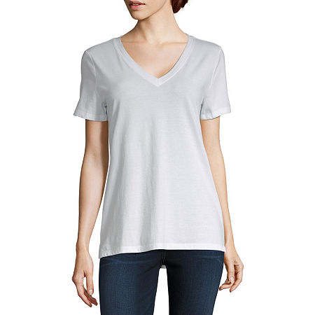 a.n.a-Tall Womens Short Sleeve V-Neck T-Shirt, Large Tall , White