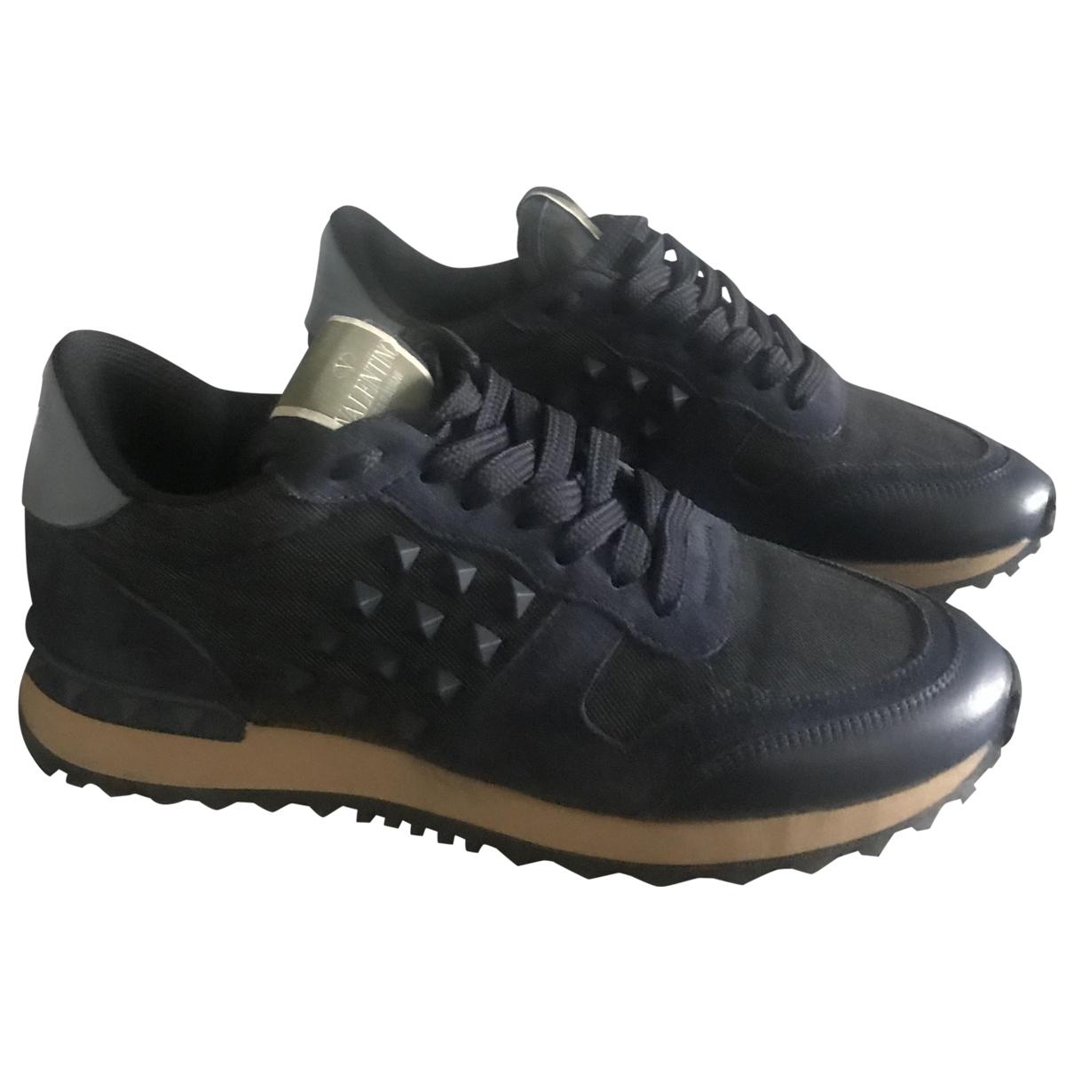 Valentino Garavani Rockstud Navy Leather Trainers for Women 37 EU