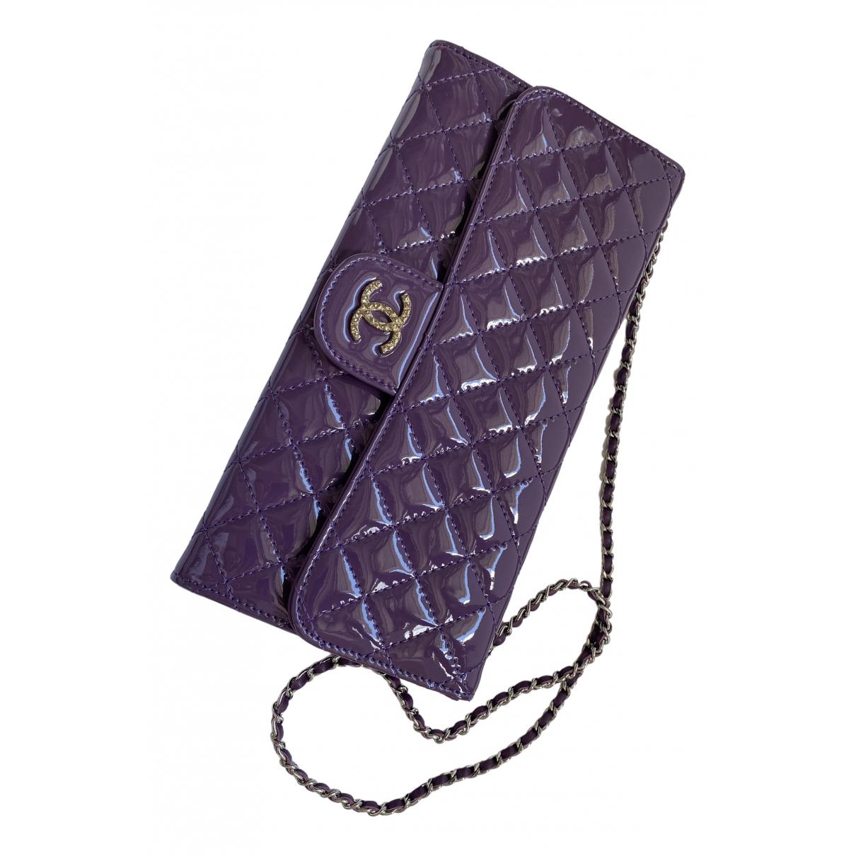Chanel Timeless/Classique Handtasche in  Lila Lackleder