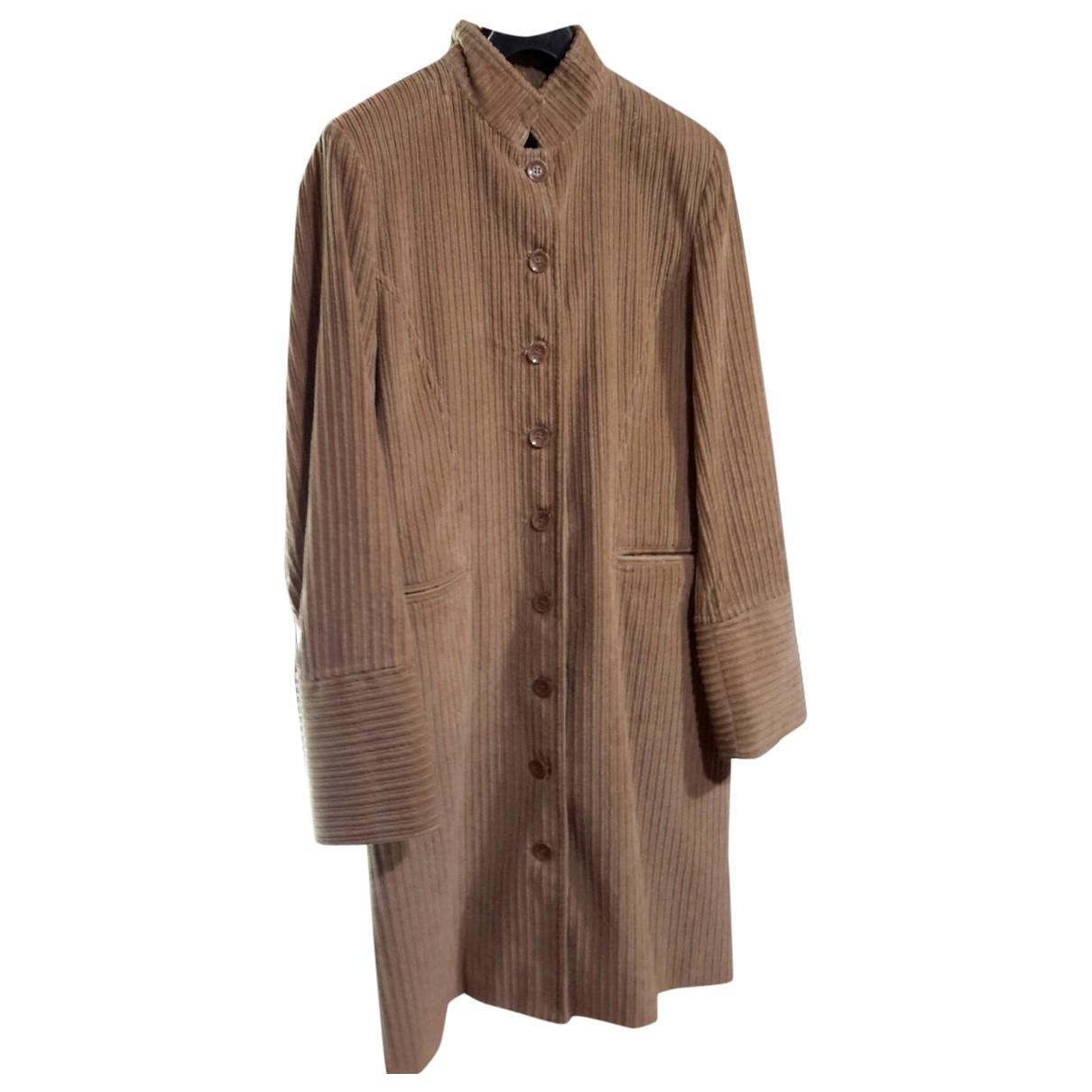 - Manteau   pour femme en velours - camel