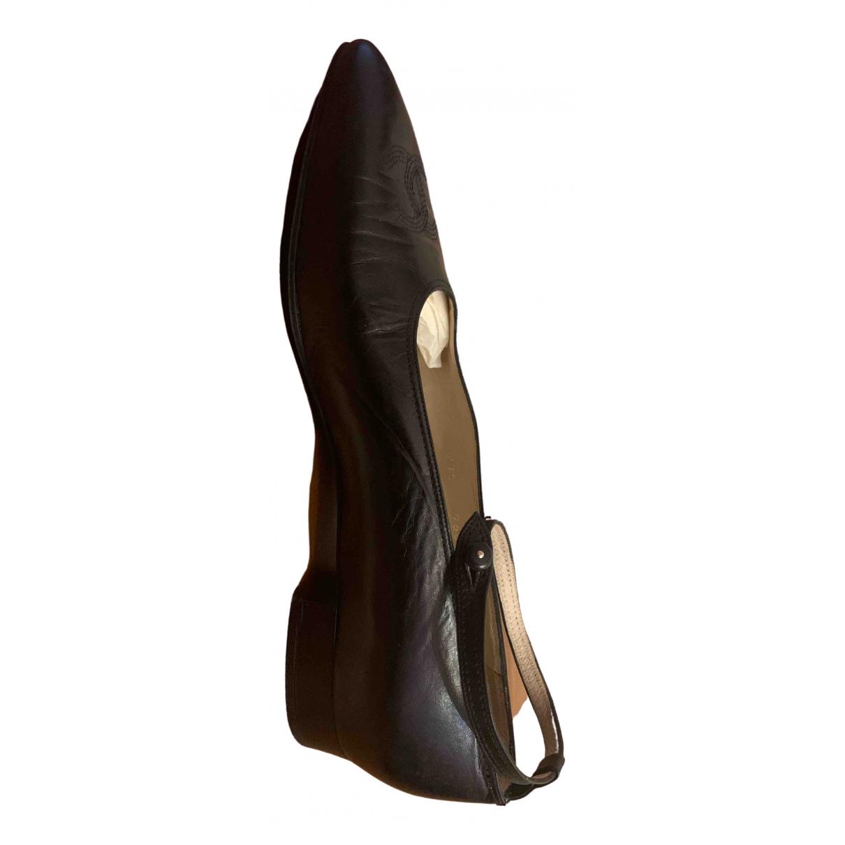Chanel - Mocassins   pour femme en cuir - noir