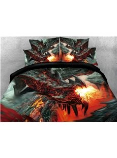 Black Dragon Spouting Fire Printed 4-Piece 3D Bedding Sets/Duvet Covers