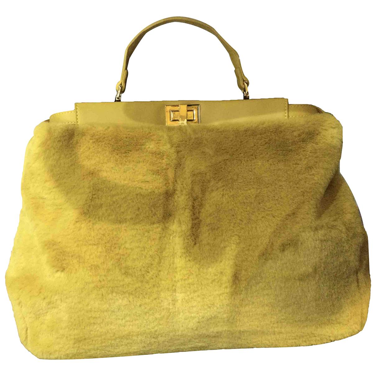 Non Signé / Unsigned N Yellow Faux fur handbag for Women N