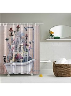 3D Old Style Bathtub Printed Polyester Pink Bathroom Shower Curtain
