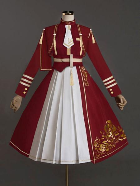 Milanoo Lolita Outfits Burgundy Rose Pattern Long Sleeves Academic Lolita Overcoat Dress