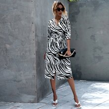 Zebra Print Belted Dress