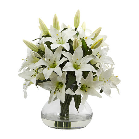 Nearly Natural 16h Lily Silk Arrangement With Glass Vase Artificial Flowers, One Size , White
