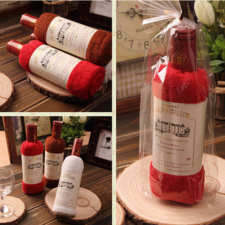 34x72cm Bagged Microfibre Absorbent Wine Shape Towel Festival Valentine Weeding Gift Party Decor