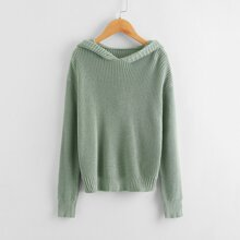 Girls Drop Shoulder Ribbed Knit Hooded Sweater