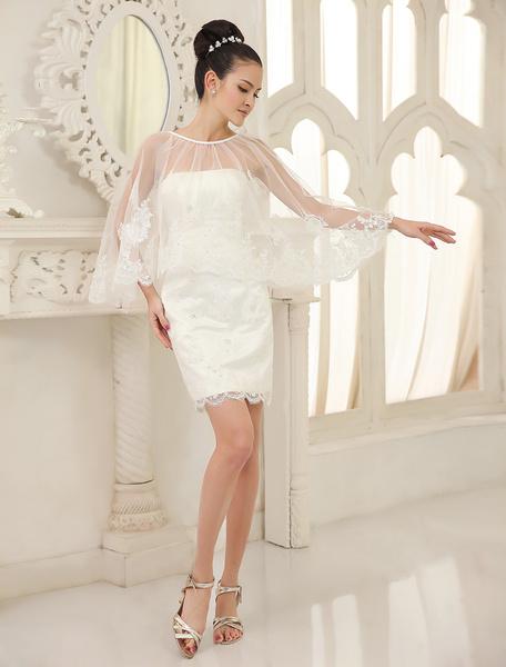 Milanoo Ivory Sheath Strapless Split Front Short Organza Beach Wedding Dress