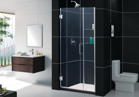 SHDR-20447210S-06 Unidoor 44-45 In. W X 72 In. H Frameless Hinged Shower Door With Shelves In Oil Rubbed