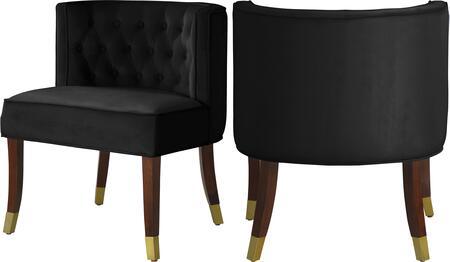 933BLACK-C Perry Black Velvet Dining Chair (Set of