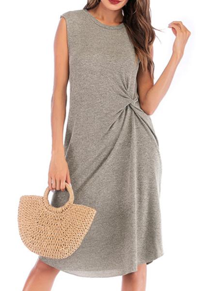 Milanoo Vestido de verano Vestido de playa gris anudado con cuello joya