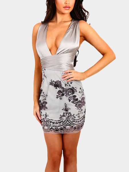 Yoins Silver Gray See Through Design Embroidered Deep V Neck Sexy Dress