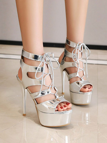 Milanoo Sexy Sandals For Woman Green PU Leather Round Toe Sexy Shoes