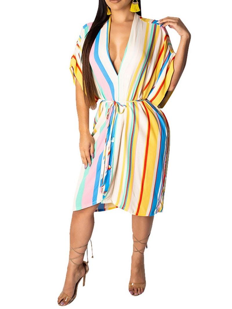 Ericdress Mid-Calf Short Sleeve Asymmetric Batwing Sleeve Striped Dress