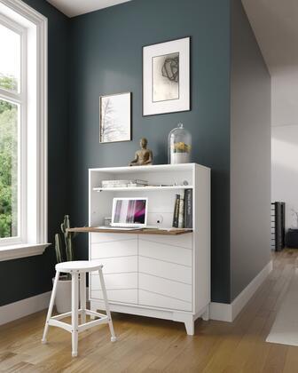 402342 Nexera Boss Secretary Desk with 2-Door Bottom Storage Section  Adjustable Shelves  in Nutmeg Melamine And Matte White