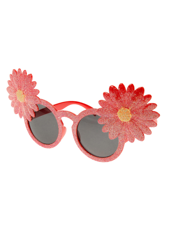 Kostuemzubehor Brille mit Blumen pink