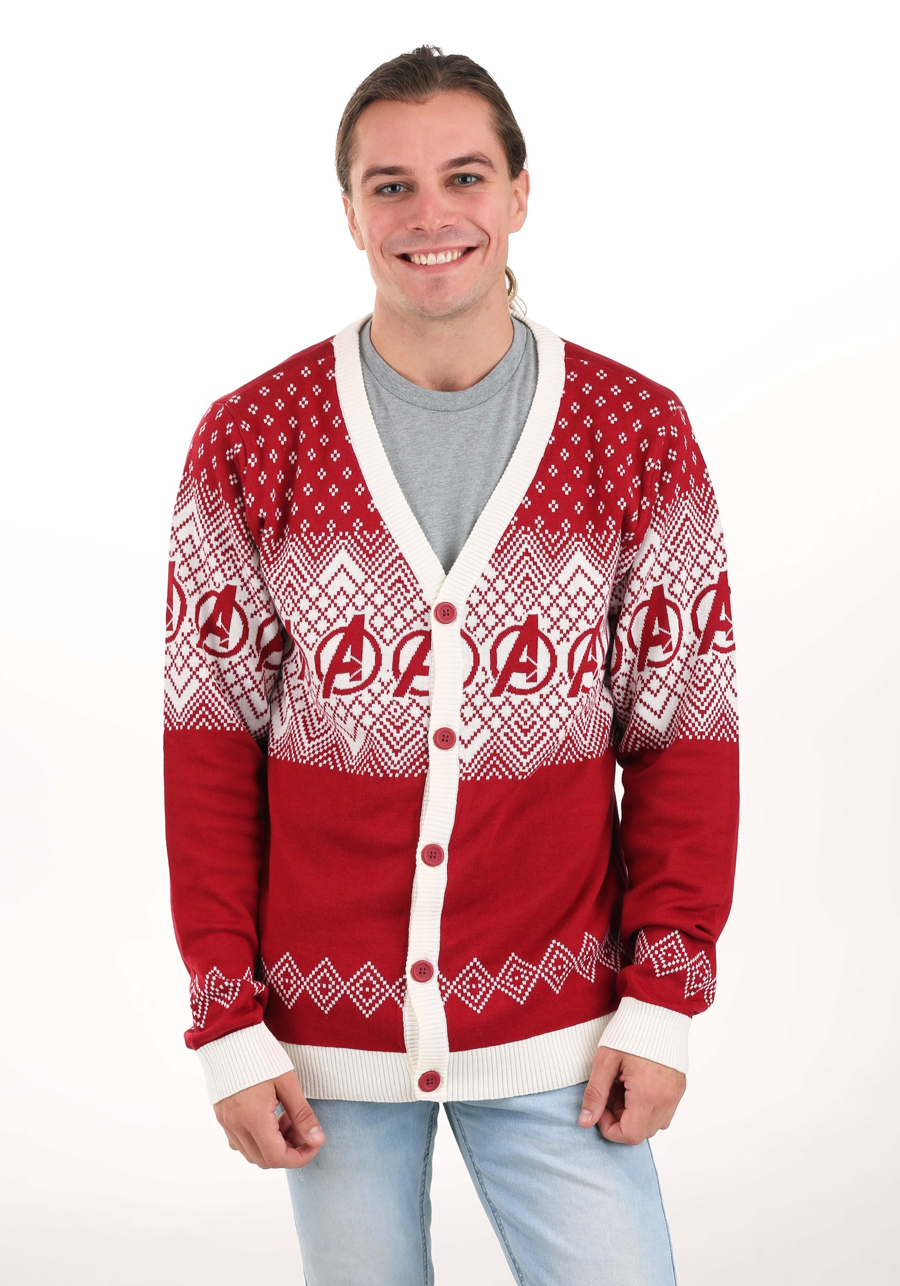 Marvel Avengers Adult Ugly Christmas Cardigan Sweater
