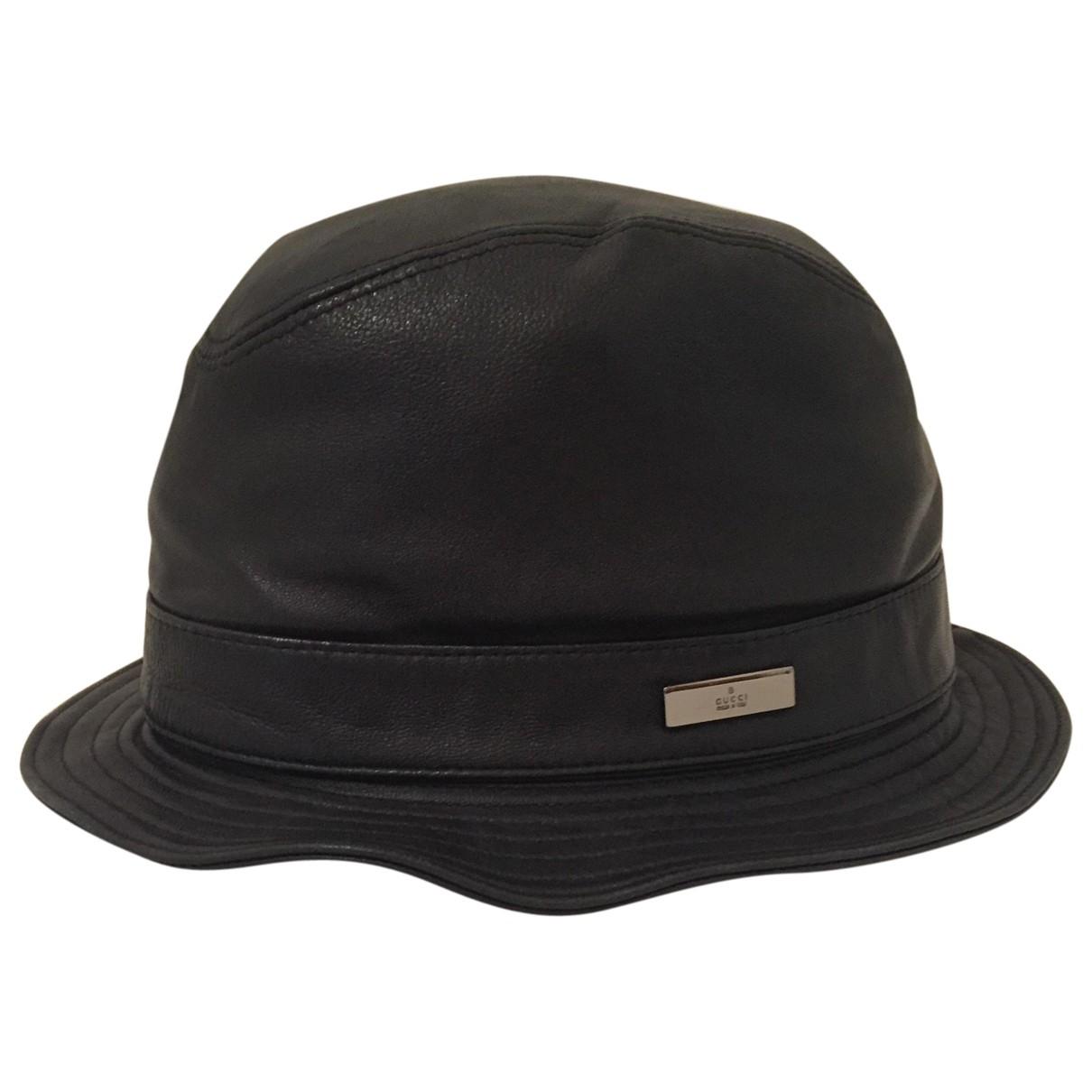 Gucci \N Black Leather hat & pull on hat for Men M International