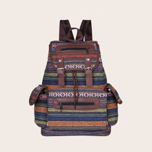 Tribal Pattern Pin Buckle Flap Backpack