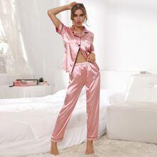 Contrast Binding Button Front Satin Pajama Set