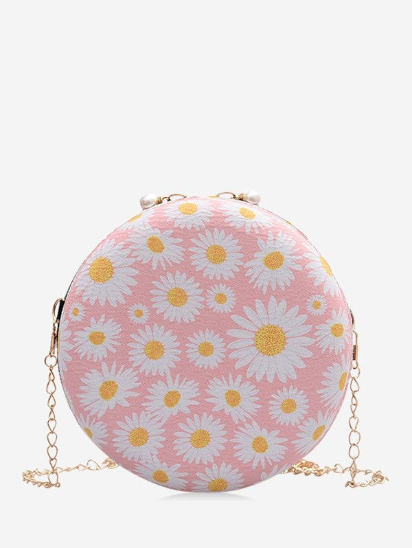 Daisy Print Chain Crossbody Canteen Bag