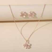 Halskette mit Blumen Anhaenger & Ohrringe