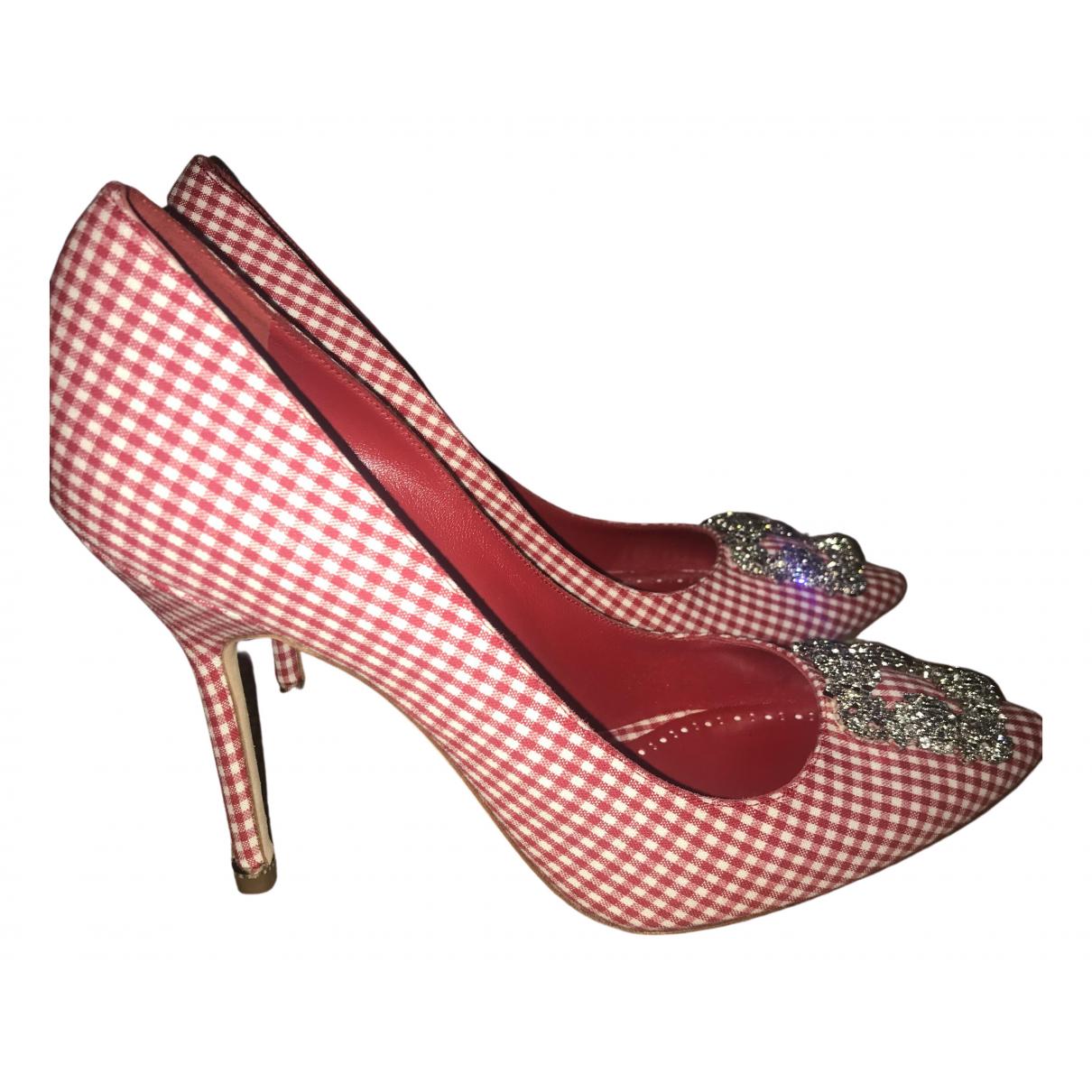 Manolo Blahnik - Escarpins Hangisi pour femme en toile - rouge