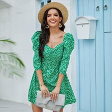 Ditsy Floral Print Leg-of-mutton Sleeve Dress