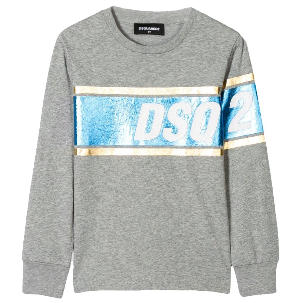 DSquared2 Kids Foil DSQ2 Print Long Sleeve T-Shirt Colour: GREY, Size: