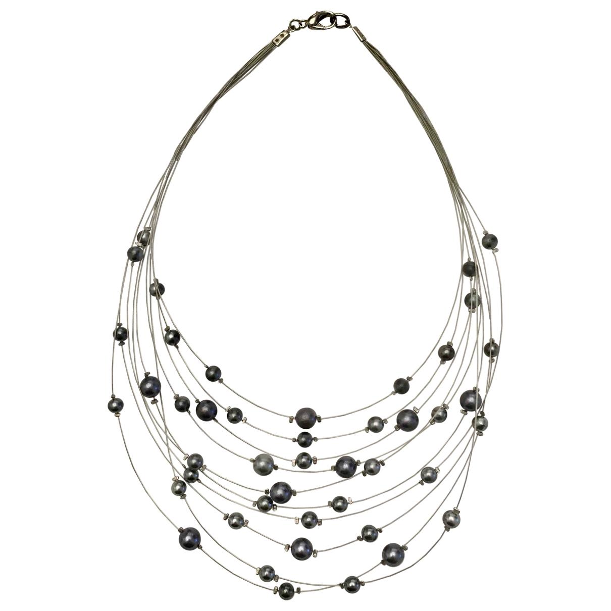 Non Signe / Unsigned Art Deco Kette in  Grau Perlen