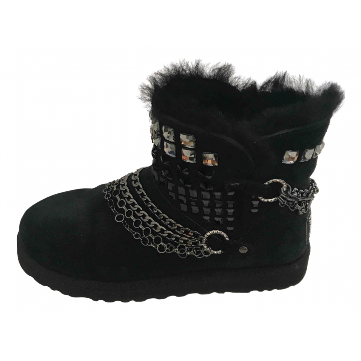 Ugg N Black Leather Boots for Women 37.5 EU