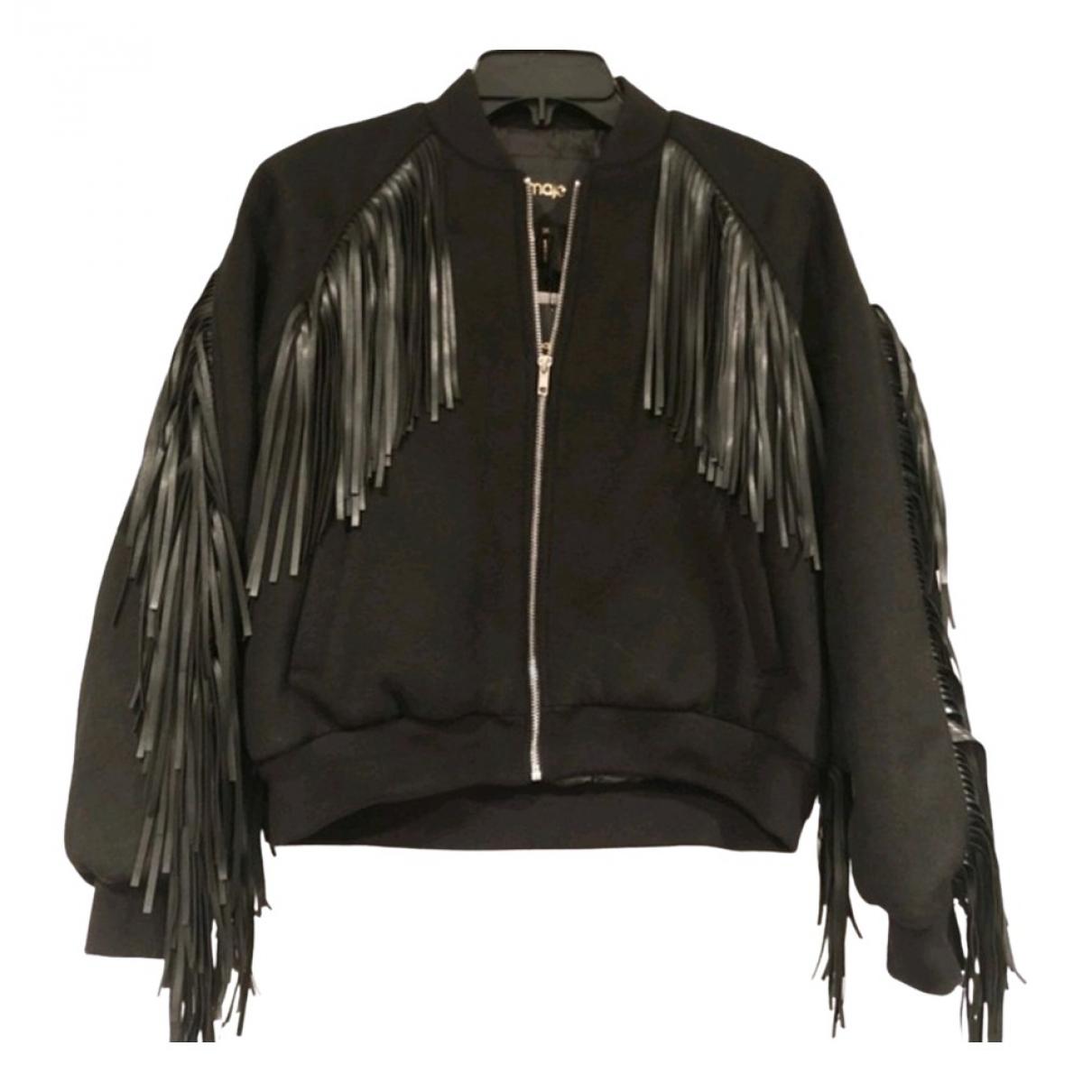 Maje N Black Wool Leather jacket for Women 36 FR