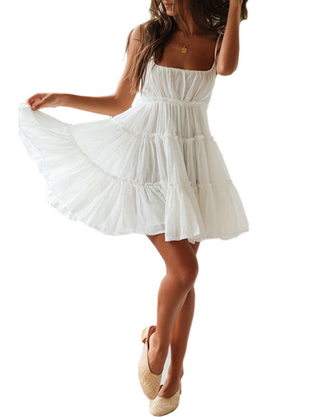 Milanoo White Summer Dresses Sexy Sleeveless Flared Slip Dress