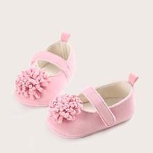 Baby Girl Floral Decor Velcro Strap Flats