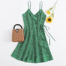 Vestidos Nudo floral de margarita Verde Bohemio