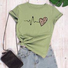 T-Shirt mit ECG & Leopard Herzen Muster
