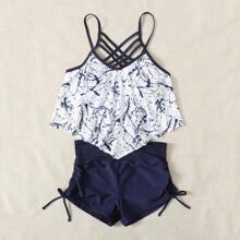 Bikini Badeanzug mit Grafik, Zipfelsaum und Gitter Muster