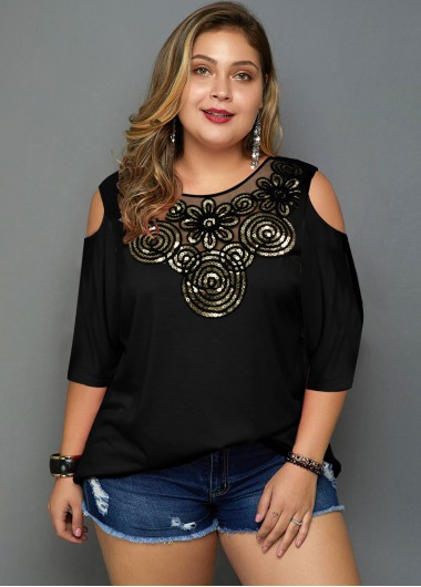 Sequin Detail Cold Shoulder Plus Size T Shirt - 2X